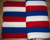 "FREE SHIPPING-Big-45.5"" by 66.5"" Crocheted Patriotic Afghan"