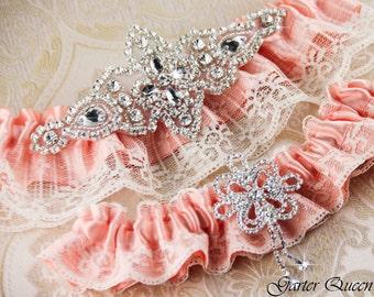 Peach Bridal Garter Set, Weding Garter Set, Custom Color Bridal garter, Lace Wedding Garter