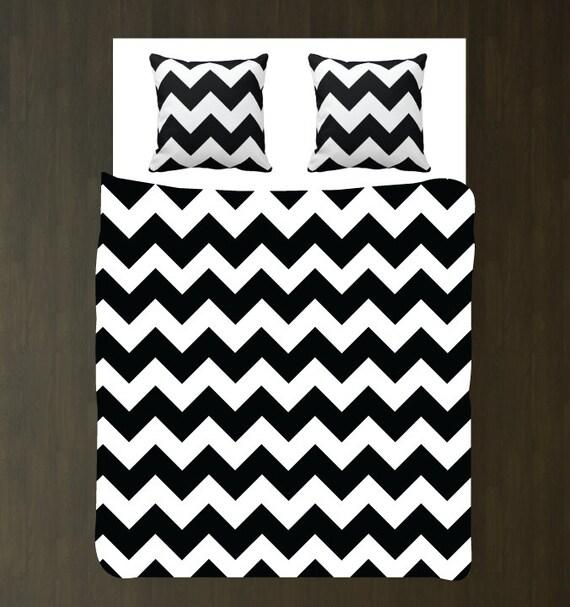 Black and White Chevron Woven Duvet Bedding Set w/Euro Shams-Custom ...