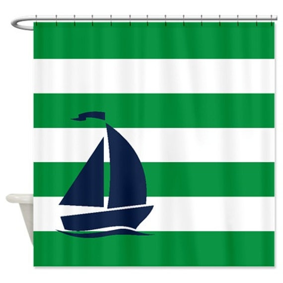 Nautical Shower Curtain Green And White Stripes Navy Blue