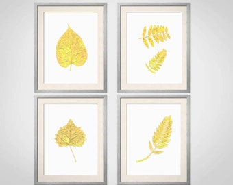 Yellow Wall Art, Yellow Botanical Prints, Leaves, Yellow Wall Art, Yellow Home Decor, Floral Prints, Set of 4 Prints, Yellow Bedroom Art