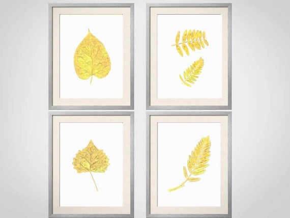Yellow wall art yellow botanical prints leaves yellow wall for Home decor yellow walls