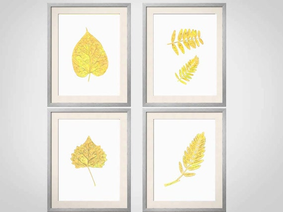 Yellow Flowers Wall Decor : Yellow wall art botanical prints leaves
