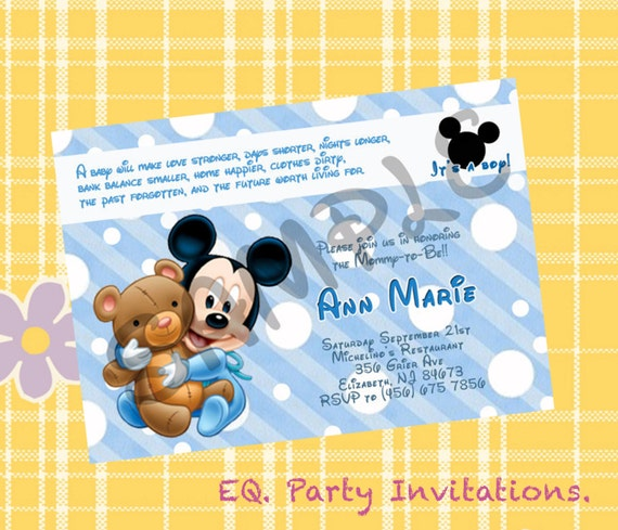 mickey mouse baby shower invitation printable by meprintanddesing