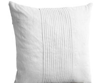 White silk ripple pillow- White pintuck pillow- 14x 14- White textured cushion- Faux silk cushion- Throw pillow- Bedding- Couch pillow- Gift