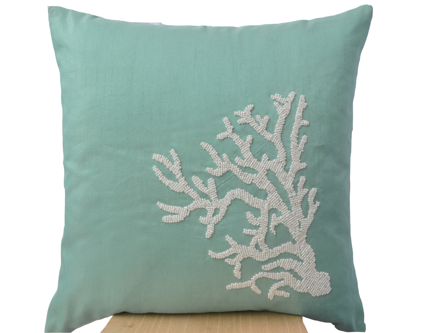Sea Life Pillows Teal Throw Pillow Coral Pillow White Beads