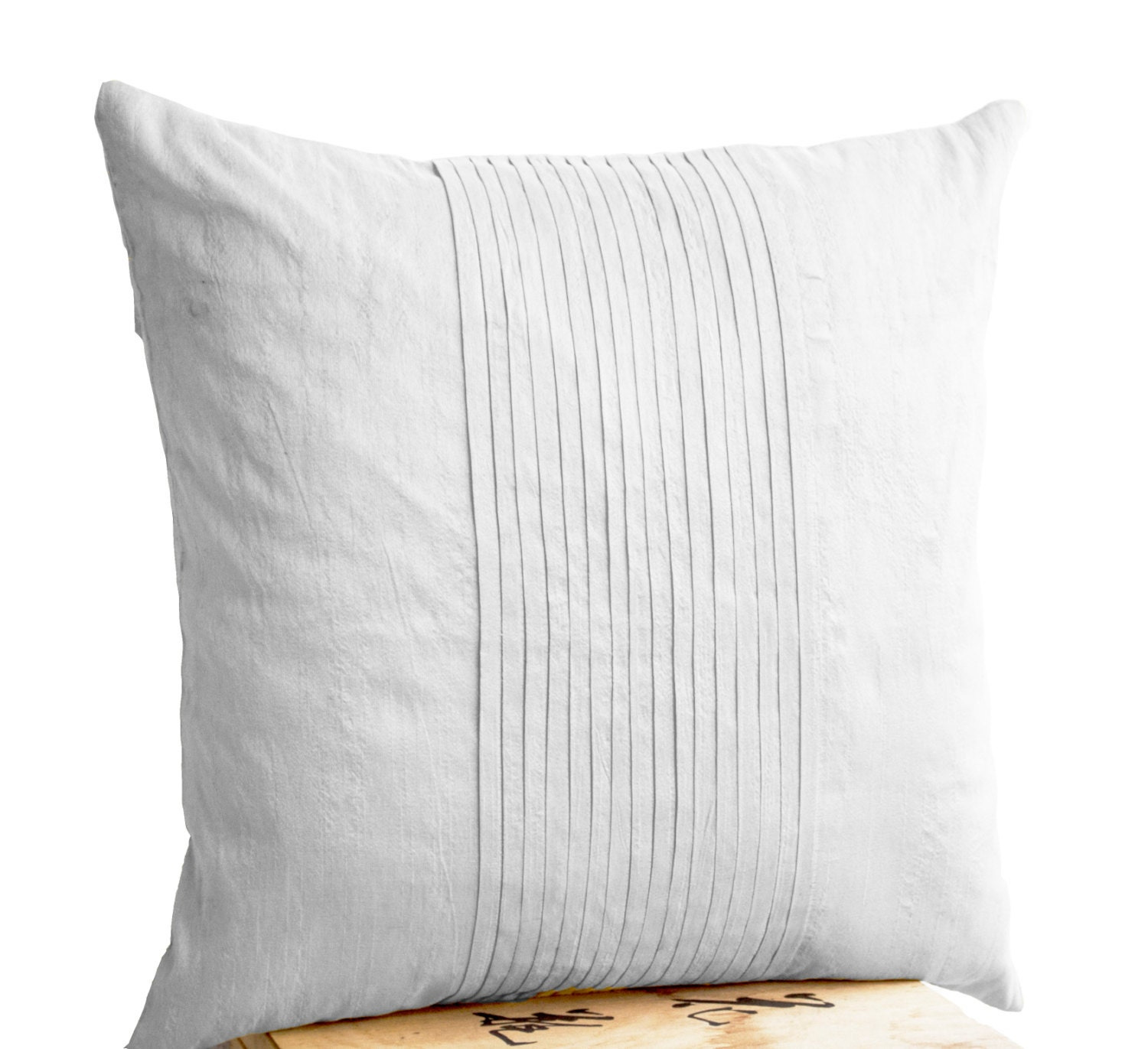 White silk ripple pillow White pintuck pillow covers 18x18