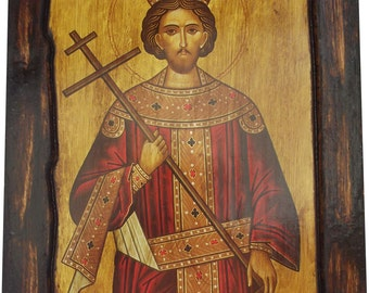 Saint St. Constantine - Orthodox Byzantine icon on wood handmade (22.5cm x 17cm)