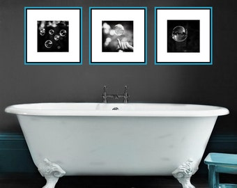 Black And White Bathroom Set   Abstract Bubble Photos 3 Prints Three Bubbles  Bathroom Wall Decor