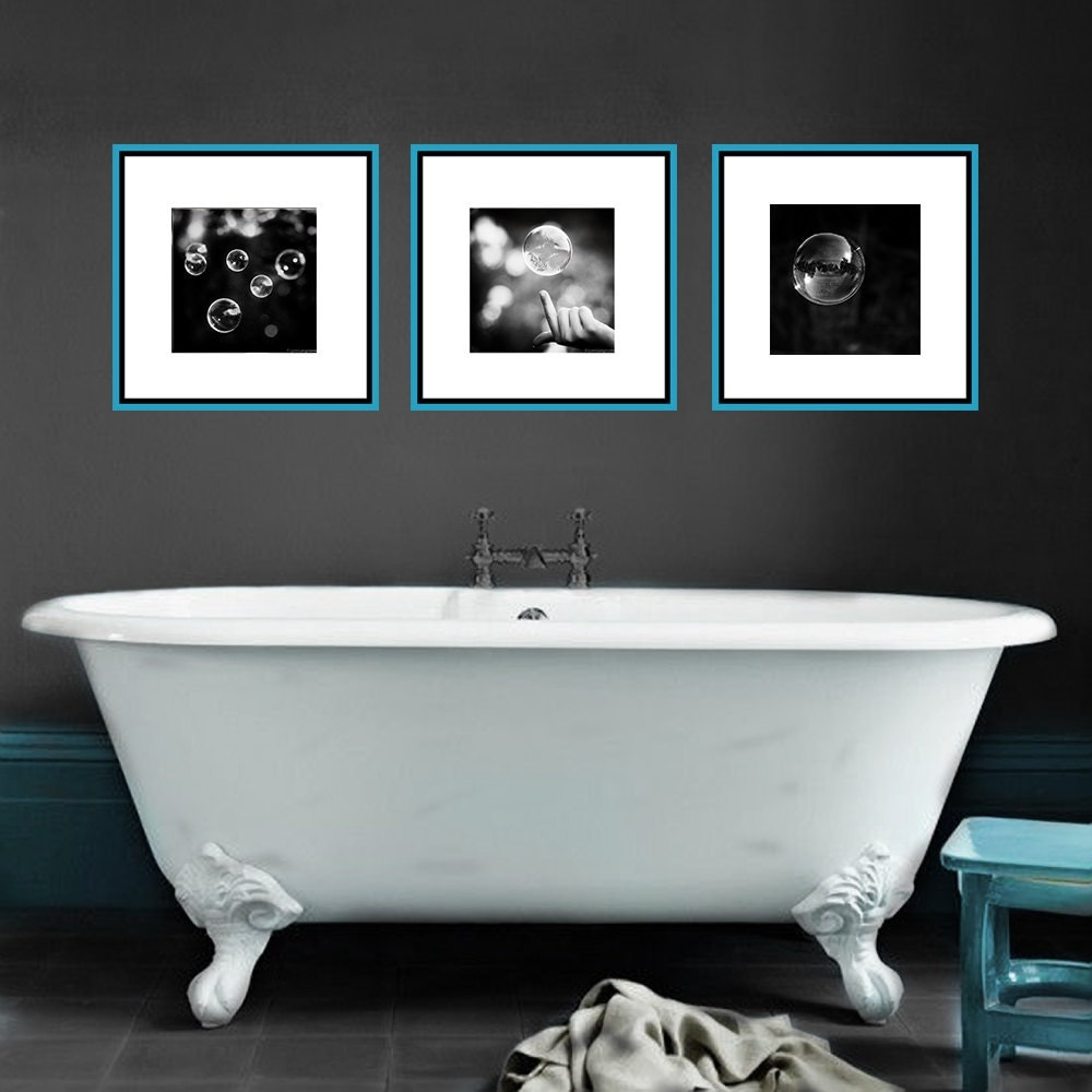 Black and white bathroom set abstract bubble photos 3 prints for White bathroom set