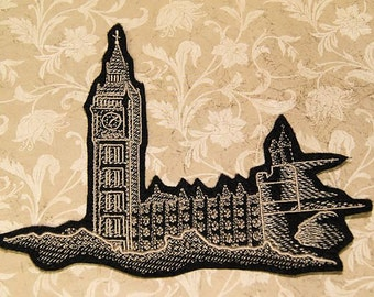 Big Ben Tower London Iron On Embroidery Patch MTCoffinz