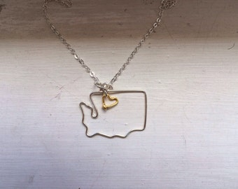 Washington State necklace, state necklace, wire jewelry, bridesmaid gift