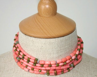 CORAL THREE WAY Necklace Triple Strand
