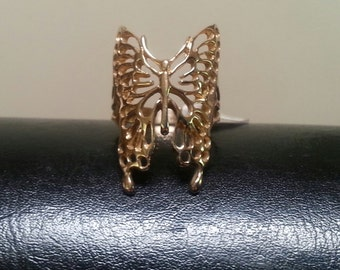 Large gold filegree  butterfly ring alternative steampunk gothic art nouveau victorian