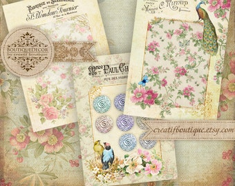 Vintage Button Tags. Set of 3. Digital Collage Sheet. Printable download.