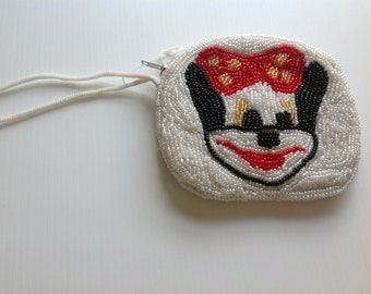 Rare Vintage 1950's hand beaded Minnie Mouse Purse - Minnie Mouse Vintage novelty Purse
