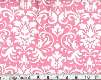 Fabric Damask White on Pink Cotton Damask White Pink 27 inches