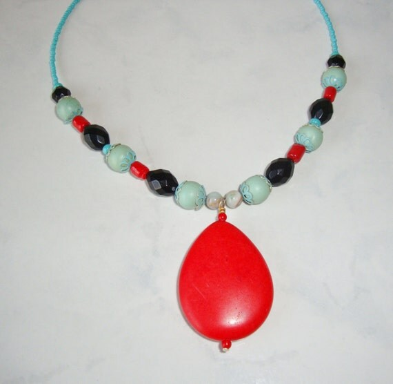 Coral Necklace With Turquoise Colored And By CoastalCreationz