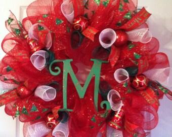 Monogrammed Christmas mesh Wreath
