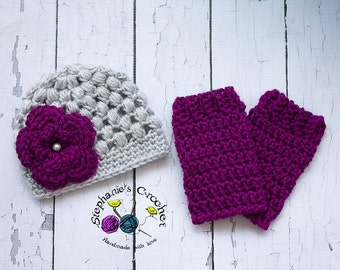 Crochet baby girl puff stitch hat and leg warmer set, PHOTO PROP, flower hat and leg warmers-Made To Order