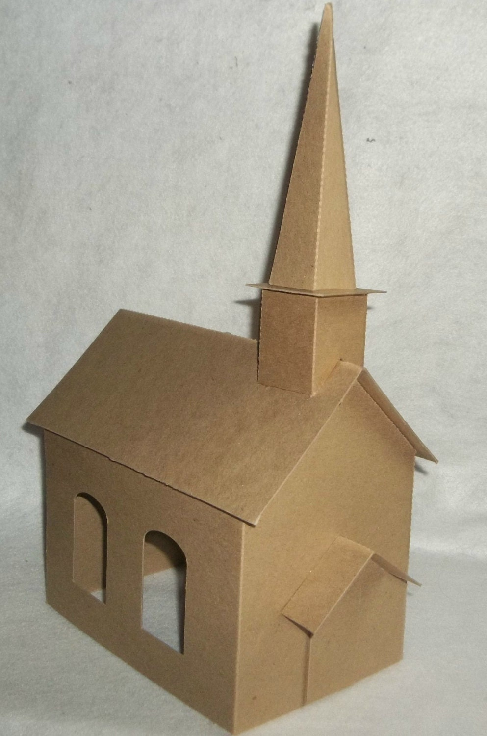 Large church with steeple diy putz style cardboard church for How do you make paper mache glue at home