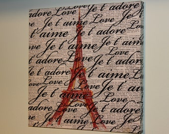 EIFFEL TOWER ART. Paris is for Lovers 15'' x15'' x1'' France art