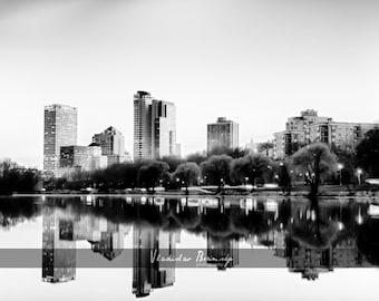 Milwaukee Skyline black and white HDR Photography - Milwaukee, Wisconsin, 8x10 photo