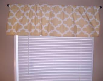 Handmade Curtain/Valance,50W x 15L, in Saffron Yellow/White Print, Nursery, Home Decor