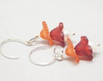 Freshwater Pearl Fall Flower Dangle Earrings - Silver French Earwire