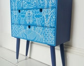 Upcycled Aqua Navy Blue Animal drawers with mid century legs