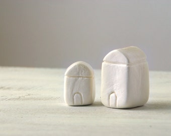 Miniature clay houses, little white houses, minimalist home decor, shelf decor, natural, first home, housewarming gift under 25, set of 2