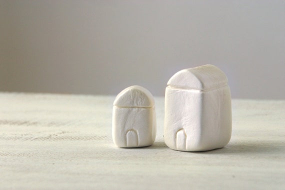 Miniature clay houses little white houses minimalist home for Minimalist gifts for housewarming