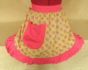 Retro Vintage 50s Style Half Apron / Pinny - Yellow & Pink with Pink Roses