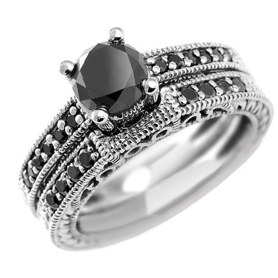 Items similar to 1 60 Carat Fancy Black Diamond Matching Engagement Ring &amp