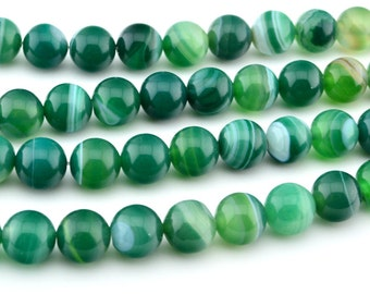 "15""  10mm   Green  Stripe   Agate  Smooth   Round   Bead , Lace   Agate"