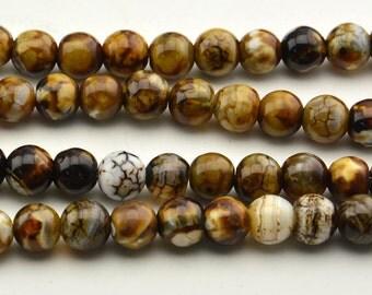 "15""  Brown Wood Grain  Dzi  Agate  Polishing  Beads ,  Tibetan  Agate  Beads ---10mm 8mm"