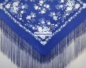 Hand embroidered spanish silk flamenco dance wear piano shawl, mantones