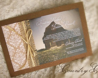 Burlap Country Charm Wedding Invitation