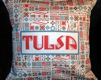 Tulsa Words Pillow Cover