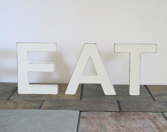 Wood Eat Sign, 6 Inch Tall Letters, Wood Kitchen Sign, Handmade Wood Sign, Eat Shelf Sitter, Home Decor, Distressed Wooden Letters, Wall Art