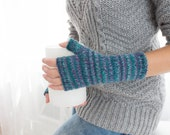 Blue Fingerless Woolen Gloves For Women Long Warm Blue Knitted Gloves Gifts For Women
