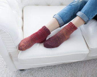 Red Wool Acrylic Socks Warm Knitted Winter High-Quality House Home Socks Women Unique Socks Housewarming Birthday Valentines Gifts