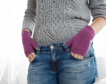 Purple Fingerless Woolen Gloves For Women Long Warm Knitted Gloves Gifts For Women birthday gifts