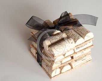 Wine Cork Coasters Set of Four, Wedding Favor, Wholesale, Wine Cork Crafts, Unique Wedding Favors