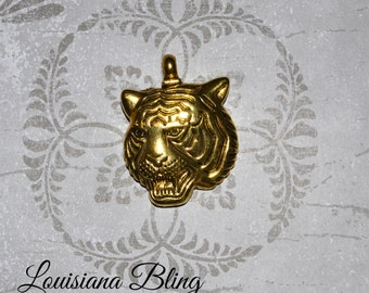 Large Tiger Pendant, Large Gold Tiger Mascot Charms, Gold Tiger Charms with attached bail 3 pieces 42x32mm Antique Gold Finish 9-5-G