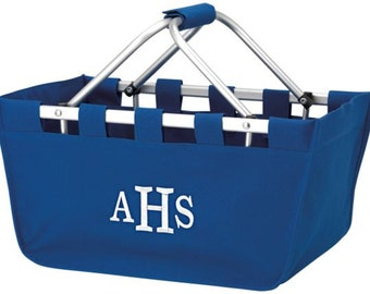 Monogram Market Tote Personalized Market Tote Basket | Picnic Grocery Car Basket | Collapsible Folding Basket Tote Large Tote Royal Blue