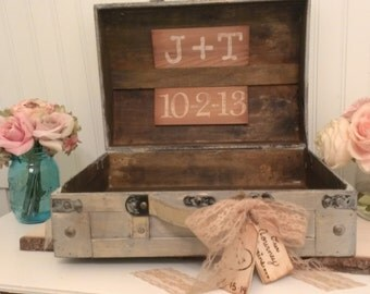 personalized shabby chic card box burlap wedding reception card box trunk vintage wedding card