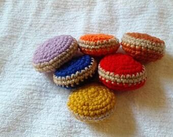 2 Crochet Macaron Cat Toys Handmade Free Shipping