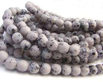 Lovely Lavender Speckled Bird Eggs ~ 6mm Czech Glass Round Druk Beads (30 Beads)