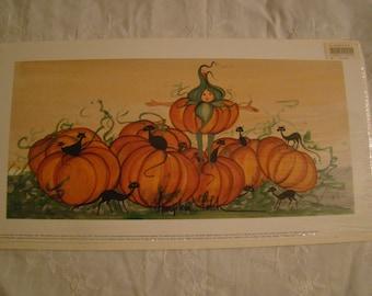 """P. Buckley Moss Print  """"Pumpkin Patch"""" rare"""